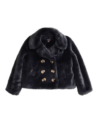 Double-Breasted Faux-Fur Jacket, Charcoal, Size 8-14