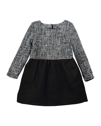 Sophia Long-Sleeve Tweed A-Line Dress, Black/White, Size 8-14