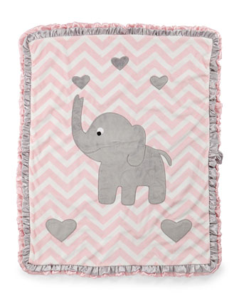 Plush Chevron Elephant Blanket, Pink
