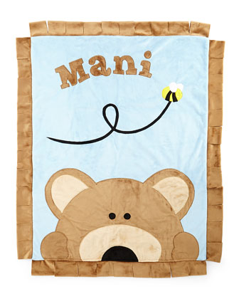 Plush Peek-A-Boo Bear Blanket, Blue/Brown