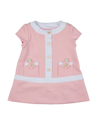 Cap-Sleeve Contrast-Trim Shift Dress, Pink/White, Size 2T-3T