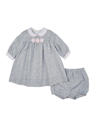 Long-Sleeve Floral Shift Dress & Bloomers, Blue/White, Size 6-24 Months