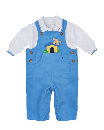 Doghouse Corduroy Overalls & Long-Sleeve Polo Shirt, Light Blue/White, Size ...