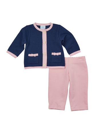 Button-Front Cotton Cardigan & Stretch-Knit Pants, Navy/Pink, Size 6-18 Months