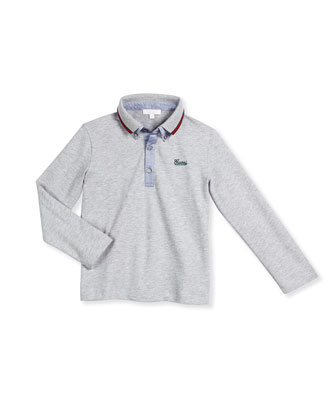 Long-Sleeve Slub-Knit Oxford Shirt, Size 6-36 Months