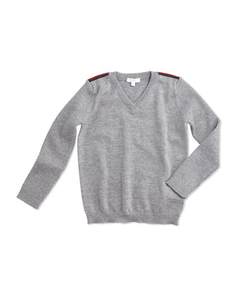 Long-Sleeve Wool V-Neck Pullover Sweater, Light Gray, Size 6-36 Months