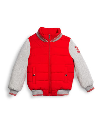 Quilted Zip-Front Varsity Jacket, Red/Gray, Size 6-36 Months