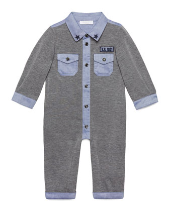 Long-Sleeve Jersey-Knit Coverall, Gray/Blue, Size 3-18 Months