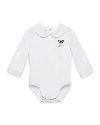 Long-Sleeve Cotton Playsuit, White, Size 0-18 Months