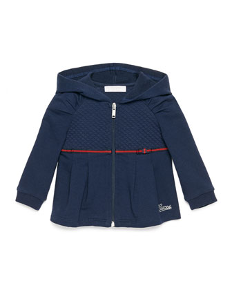 Pleated Zip-Front Hooded Sweatshirt, Blue, Size 6-36 Months