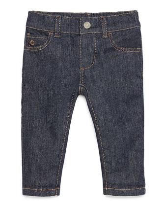 Logo-Trim Skinny Jeans, Indigo, Size 12-36 Months