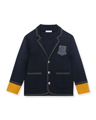 Contrast-Trim Prep School Blazer, Navy/Gold, Size 4-12