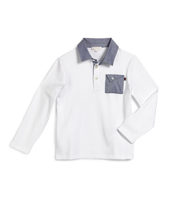 Long-Sleeve Chambray-Trim Polo Shirt, White, Size 4-12