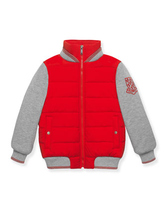 Quilted Zip-Front Combo Jacket, Red/Gray, Size 4-12