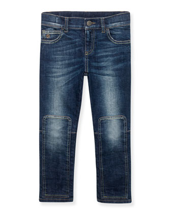 Skinny Patchwork-Trim Faded Jeans, Orbit, Size 6-12