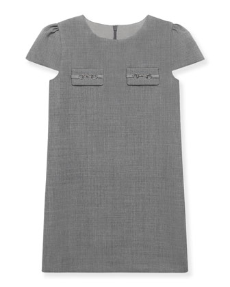 Cap-Sleeve Wool Shift Dress, Size 4-12