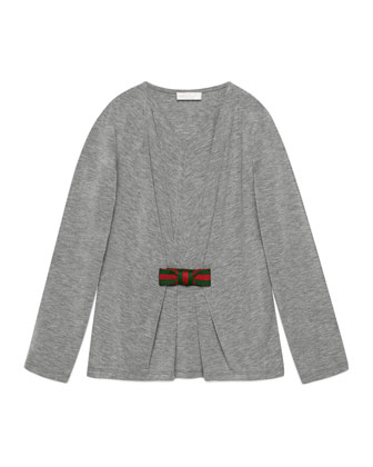 Long-Sleeve Illusion Jersey Tee, Size 4-12