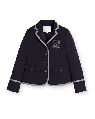 Contrast-Trim Prep School Jacket, Blue, Size 6-12
