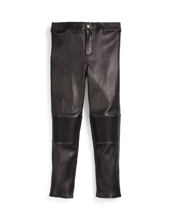 Quilted Napa Leather Leggings, Black, Size 8-12