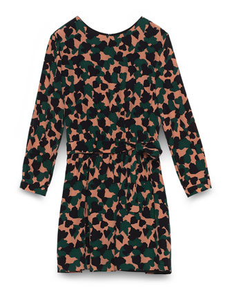 Long-Sleeve Silk Camo-Print Dress, Pink/Multicolor, Size 8-12