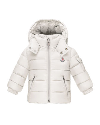 Jules Zip-Front Puffer Coat, White, Size 12M-3