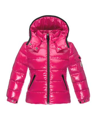 Bady Contrast-Trim Quilted Down Coat, Fuchsia, Size 4-6