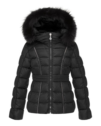 Eulali Fur-Trim Puffer Coat, Black, Size 8-14