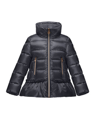 Anet Ruffle-Trim Puffer Jacket, Navy, Size 8-14
