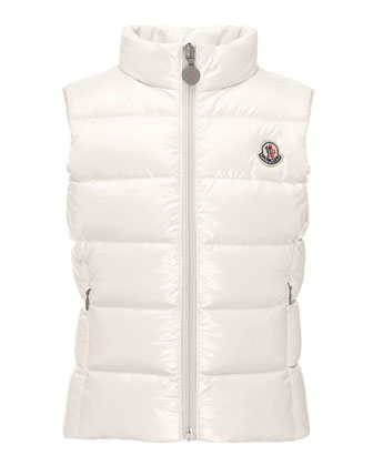 Ghany Quilted Down Vest, Cream, Size 10-14