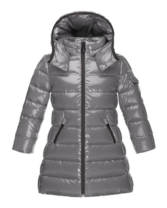 Moka Down Puffer Coat, Platinum, Size 8-14