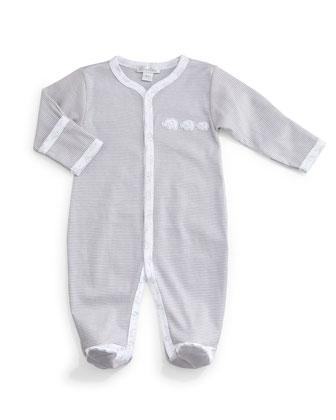 Baby Elephants Pima Footie Pajamas, Gray/White, Size Newborn-9 Months