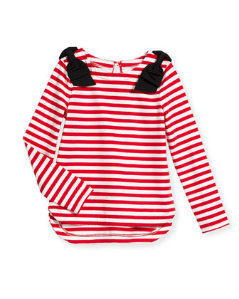 striped lena long-sleeve tee, red/white, size 2-6