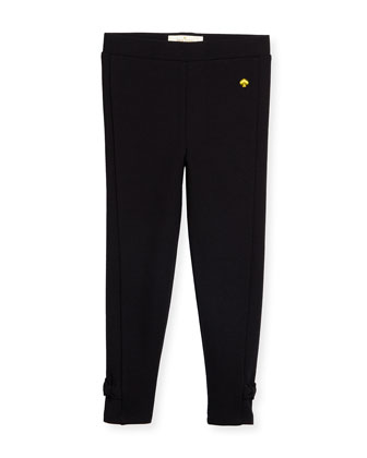 jamie bow-trim leggings, black, size 2-6