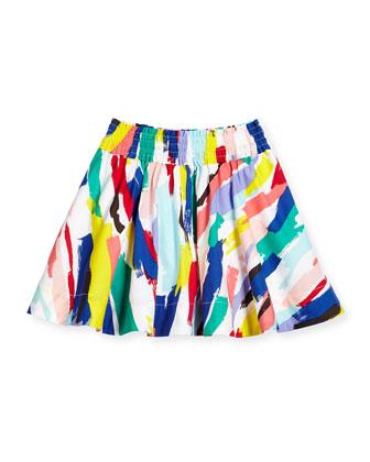 brushstroke-print a-line skirt, white/multicolor, size 2-6