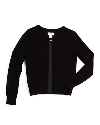afton grosgrain-trim knit cardigan, black, size 2-6