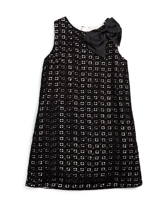 sleeveless guipure-lace shift dress, black/cream