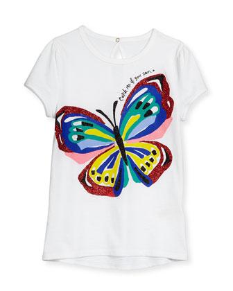 brushstroke butterfly jersey tee, white