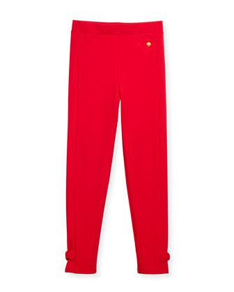 jamie bow-trim leggings, red, size s-xl