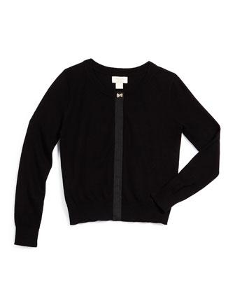 afton grosgrain-trim knit cardigan, black