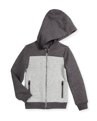 Terry-Lined Hooded Colorblock Sweater, Heather Gray/Steel, Size 2-7