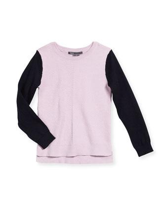 Colorblock Chevron Sweater, Blush/Black, Size 2-6