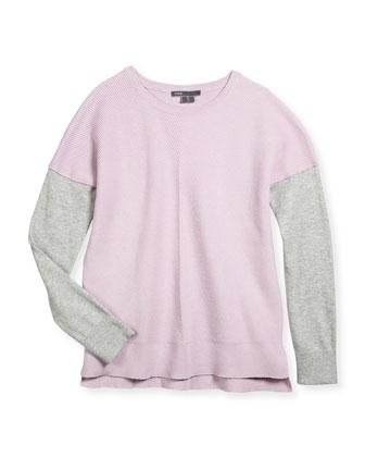Colorblock Chevron Sweater, Blush/Gray, Size S-XL