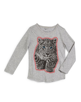 Barley Long-Sleeve Leopard-Graphic Tee, Pebble, Size 4Y-14Y