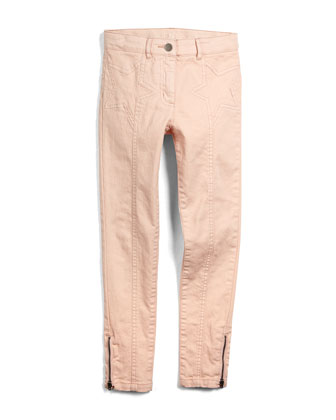 Twinkle Star-Stitched Skinny Jeans, Rose, Size 8Y-14Y