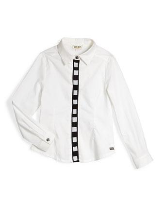Long-Sleeve Poplin Shirt w/ Contrast Placket, White, Size 6Y-10Y