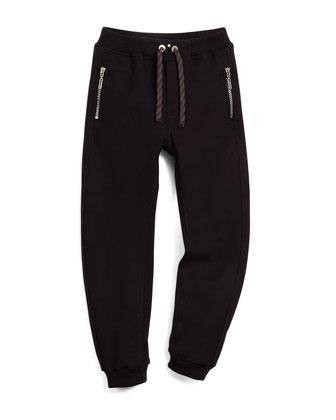 Logo-Script Pullover Sweatshirt & Zip-Trim Track Pants