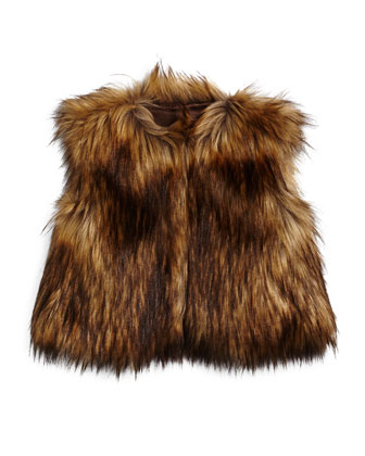 Cropped Faux-Fur Vest, Brown, Size 4-14