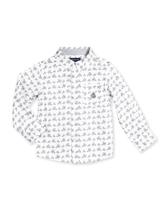 Long-Sleeve Cotton Bicycle-Print Shirt, White, Size 2T-7Y