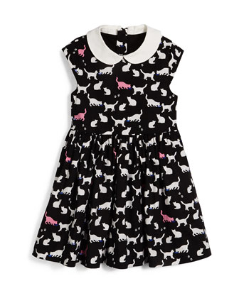 afton button-front cardigan & kimberly sleeveless cat-print dress, size 2-6