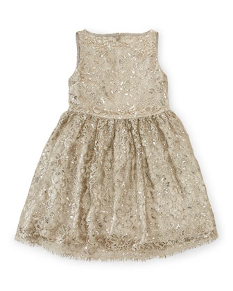 Sleeveless Lace A-Line Party Dress, Platinum, Size 2T-6X